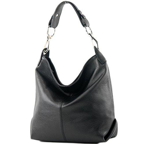 modamoda de - T168 - ital Schulter-/Umhängetasche aus Leder, Farbe:Schwarz