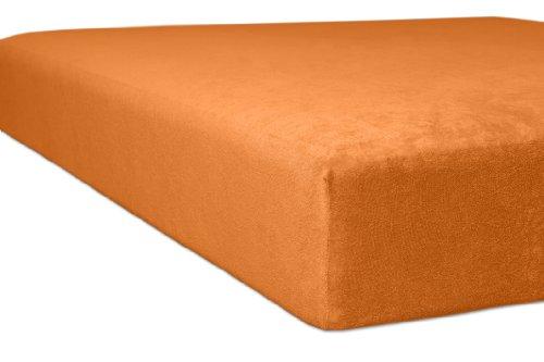 Kneer 1001065 Flausch-Frottee Spannbetttuch Qualität 10, Größe 90/190-100/200 cm, orange