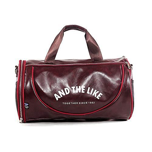 wewo Reisetasche Groß Kapazität Herren Sporttasche Leder Damen Handtasche Faltbare Weekender Bag Handgepäck Gym Taschen Wasserdicht Duffel Bag Multipurpose (Rot) -