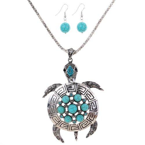 Yazilind versilbert Tortoise Blume Runde Türkis-Blau- Kristallohrringe Halskette Set für Frauen-Geschenk