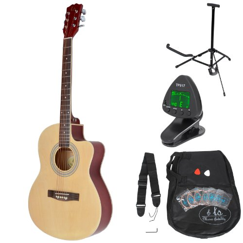 ts-ideen Western - Guitarra acústica completa con accesorios Premium, tamaño regular 4/4, color madera natural