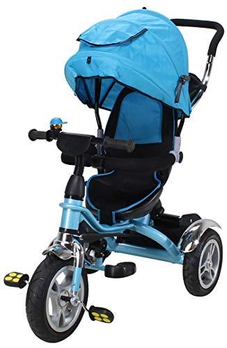 Miweba Kinderdreirad Schieber 7 in 1 Kinderwagen - 360° Drehbar - Luftreifen - Heckfederung - Laufrad - Dreirad - Schubstange - Ab 1 Jahr (KS07 Blau)