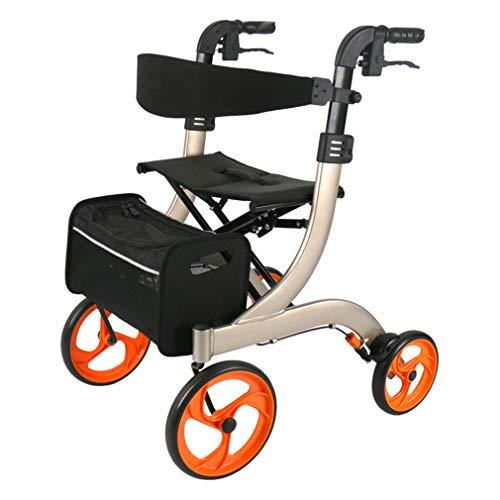 Junior Rollator Walker mit Sitz, Drive Medical Roll Walker Faltbarer, 4 Räder Medical Gehhilfen Doppelbremssystem, benutzt für Senioren Wandern,Gold -