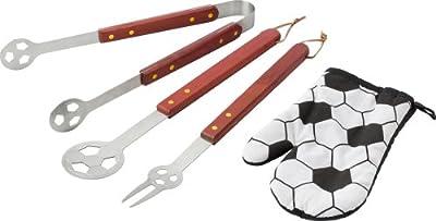 Grillschürze FUSSBALL mit Grillbesteck, Schürze und Grillhandschuh ALLES im Fussballdesign (Bilder bitte beachten) von notrash2003