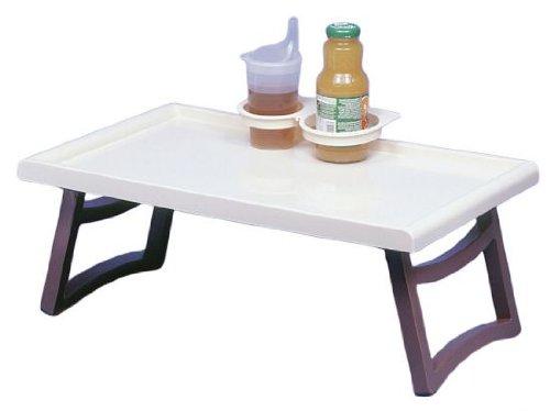 BEHREND 21400010 Bett-Tisch mit Glas-und Flaschenhalter, WEISS