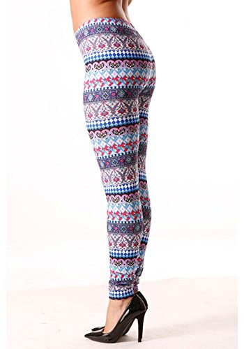 dmarkevous - Legging avec imprimés géométriques et fleuris en turquoise et fushcia Turquoise