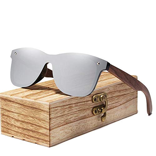 ANSKT Herren Sonnenbrille Polarized Walnut Wood Mirror Lens Sonnenbrille Damen Brand Design Colorful Shades Handmade-Silver_Walnut_Wood