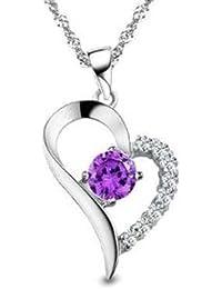 dames en argent sterling collier Coeur Améthyste Pendentif en forme, pour les femmes les filles (F369)