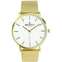 Reloj de pulsera de cuarzo con correa de acero inoxidable y esfera redonda, de estilo