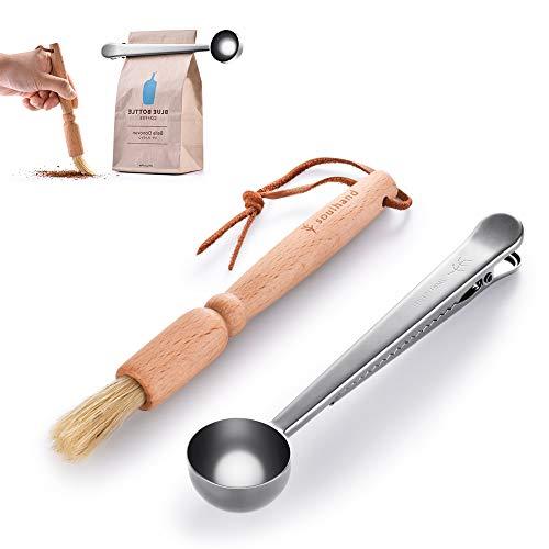 soulhand Kaffeeschaufel, Edelstahl Kaffeeschaufel mit Beutelclip + Reinigungsbürste für die Kaffeemühle, Naturborsten & Buche Espressobürste Zubehör für Barista(Silber)
