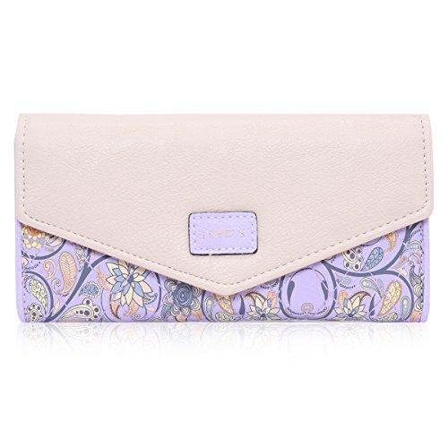 Damara Elegant Blume Muster Frisch Fashion Süß Elegant Damen Portemonnaie Geldbörse, Lila