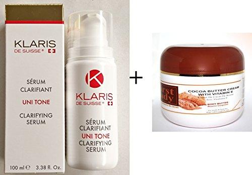 Klaris de Suisse Uni Tone Premium Skin Lightening Serum olio 100ml e First Lady cocoabutter (Menta, Mentolo) Crema Per Il Corpo 500ml