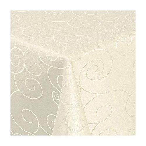 TEXMAXX Damast Tischdecke Maßanfertigung im Ornamente-Design in creme-champagner 140x240 cm eckig, weitere Längen sind wählbar
