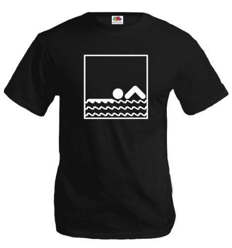 buXsbaum® T-Shirt Schwimmen-Piktogramm Black-White