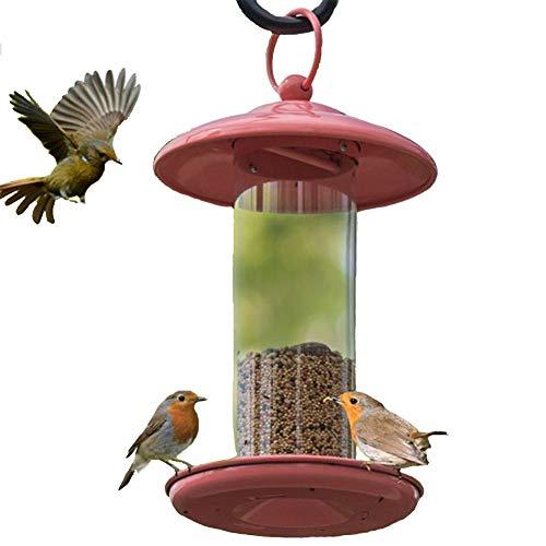 YAOBAO Wild Bird Feeder Haus, Wetterfest Mit Regen Wasserablauflöchern, Open Dach Design Für Eine Einfache Reinigung, 25X15cm (Rot)