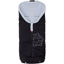 byboom® Softshell Chancelière d'hiver thermique actif pour poussette et buggy, Couleur: Noir/Gris