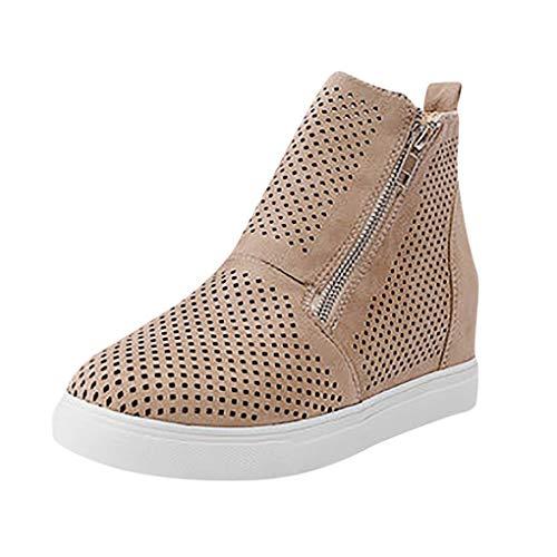 Dorical Plateau Stiefeletten Sandalen,Damen Keilabsatz Schuhe Wedge Sneaker Kunstleder Reißverschluss Elegant Gr.35-43 EU Reduziert(Khaki,43 EU) -