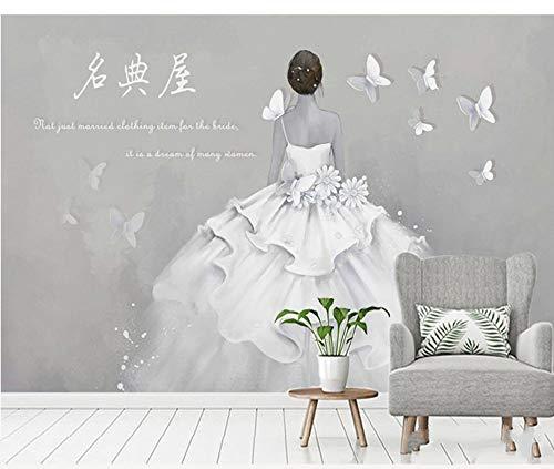 CFLEGEND Negozio Di Abbigliamento Da Donna Sfondo Pittura Murale Negozio Per Unghie Negozio Di Abiti Da Sposa Negozio Di Abbigliamento Carta Da Parati Carta Da Parati Decorazione (W) 300X (H) 210 Cm