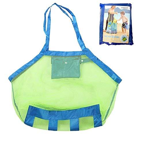 COOLGOEU Strandtasche Strandspielzeug Tasche XXL Groß für Sandspielzeug Wasserspielzeug für Kinder Aufräumsack Spielsack Badetasche Beachbag Faltbar für Familie Urlaub ( Grün Mesh / Blau Strap)