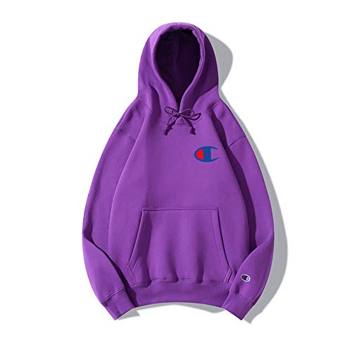 YIFUDAJIA Champion Sweater ins Tide Brand Lovers Men and Women Autumn and Winter Long-Sleeved Jacket Hoodie, S, XW Left Chest small Blue Edge red Heart + Cuff Blue Embroidery Purple Red Womens Hoodie