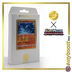 Lucario 71/147 Holo Reverse - #myboost X Sun & Moon 3 Burning Shadows - Box de 10 cartas Pokémon Inglesas