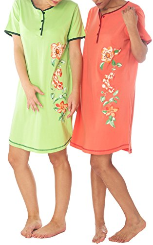 Consult-Tex Damen Kurzarm Nachthemd Baumwolle 2 Stück Packung DF614 ab 40/42 (Stück 2 Nachthemd)
