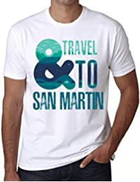 Hombre Camiseta Vintage T-Shirt Gráfico and Travel To San Martin Blanco