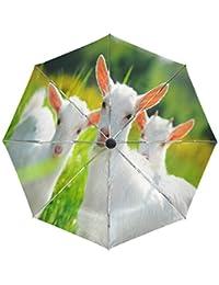 Wamika Paraguas de Viaje con diseño de Cabras sobre pastores, Resistente al Viento, Resistente