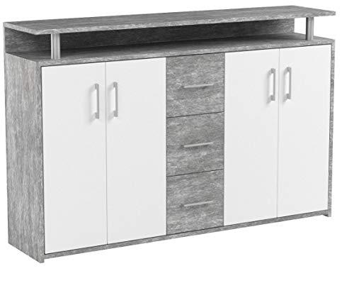 Stella Trading Drift Highboard, Holzdekor, Beton-Weiß, (B/H/T) 139 x 90 x 34 cm