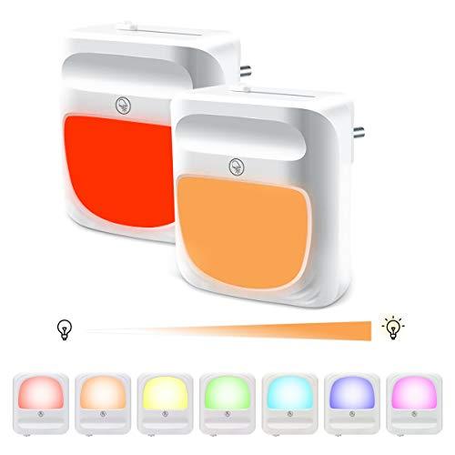 LED Nachtlicht Steckdose - Dimmbar RGB Farbwechsel Nachtlicht mit Schalter Einstellbarer Helligkeit, Auto Dämmerungssensor Warmweißes Baby-Nachtlicht für Kinderzimmer, Schlafzimmer, Flur, Treppen