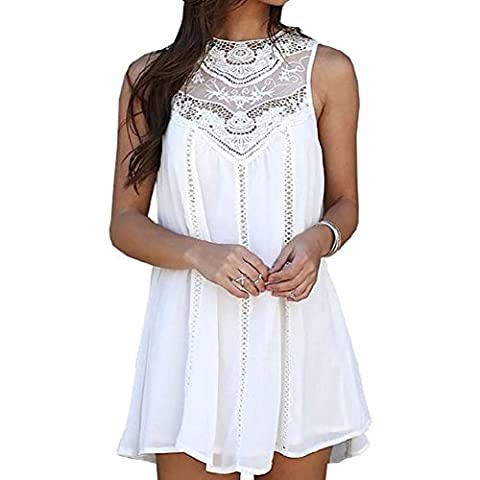 IHRKleid Femme Robe Coûrte Mini Sans Manche Robe (Small, Blanc)
