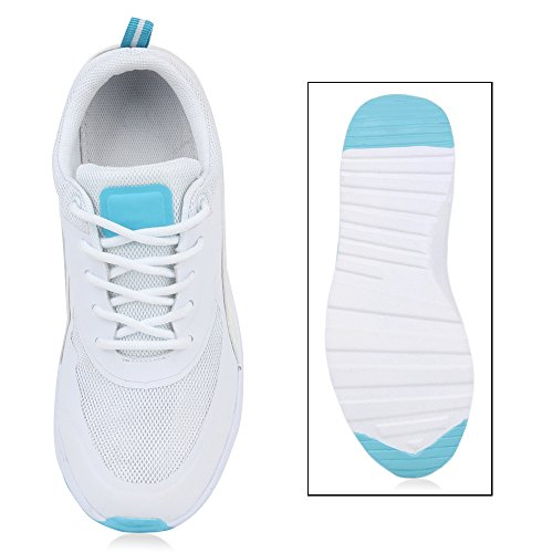 Damen Herren Sportschuhe Runners Laufschuhe Sneakers Neon Weiß