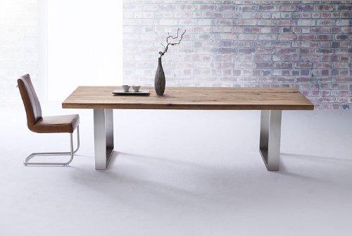 Robas Lund, Tisch, Esszimmertisch, Castello, Wildeiche/Massivholz/Edelstahl gebürstet, 180 x 100 x 76 cm, CAS180EW