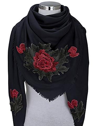 XXL PATCHES ROSE STICKER Damen Schal Tuch Karoschal Halstuch Fashion Plaid Loop Schwarz