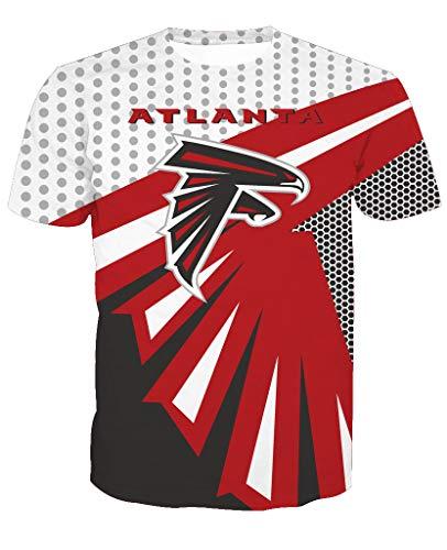 Männer 3D T-Shirt Atlanta Falcons NFL Fußball Team Uniform Muster Digitaldruck Liebhaber Shirt(S,Rot) Atlanta Falcons Uniform