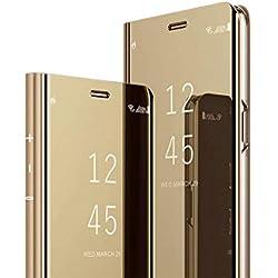 MRSTER S6 Edge Plus Miroir Housse Coque Etui à Rabat, Mirror Smart View Standing 360° Protecteur Etui Coque pour Samsung Galaxy S6 Edge+ / S6 Edge Plus. Flip Mirror: Gold