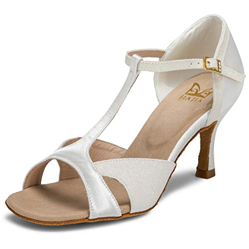 With 2055 size Color Jia Women's Sandals 37 2 Ivory Sparkling Glitter Super Shoes 4 Eu Flared Heel Dance Satin 7'' Uk Latin EHY9IbeWD2