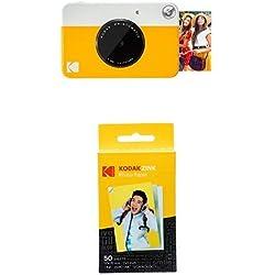 Kodak Printomatic - Appareil Photo à Impression Instantanée avec Papier Autocollant Zink 5 cm x 7,6 cm, Jaune