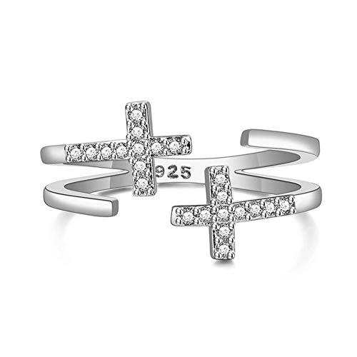 Ring für Damen und Mädchen, Zirkonia, geometrisch, keltischer Knoten, Kreuz mit weißen Strasssteinen, Sterling-Silber 925, verstellbar - Antik-ring-set
