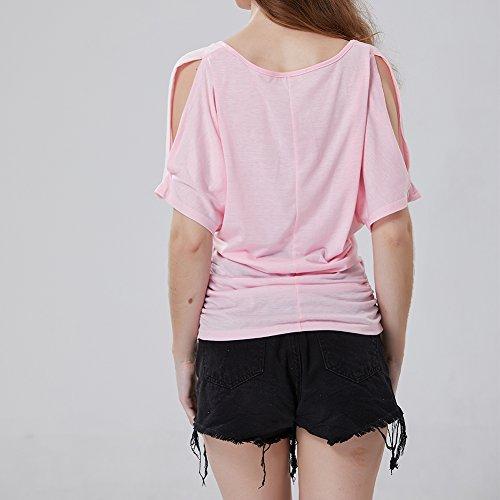 iBaste Damen Oberteil Festlich T-Shirts Bluse Elegant Shirt Kurzarm Große Größen Rosa(Schulterfrei)