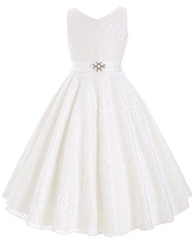 Sweet weiss blumenmaedchen Hochzeitkleid festkleider mit perlen 3-4 Jahre (Kleider Perlen Weiße)