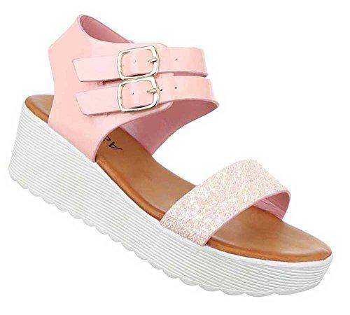Damen Sandalen Schuhe Sandaletten Schwarz Rosa