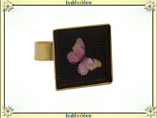 Ring Schmetterling Harz stieg schwarz Quadrat 17mm Messing Gold 24 K Weihnachten Fest der Mütter Großmütter personalisierte Geschenke Geburtstag Hochzeit Gast Heilige Geliebte