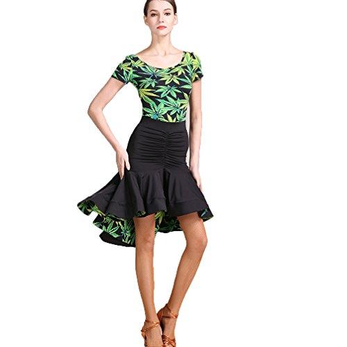 Kleid für Frauen Performance Spiel Kostüm Ärmellos Lotus Blatt Professionel Ballroom-Tanzabnutzung Große Schaukel, Green, S (Professionelle Jazz Kostüme)