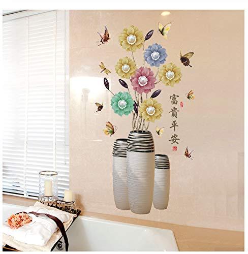 gkawhh adesivo murale cinese tradizionale moderno fiori vaso di fiori farfalla decor applique camera da pranzo ingresso carta da parati fai da te 70 * 122 cm