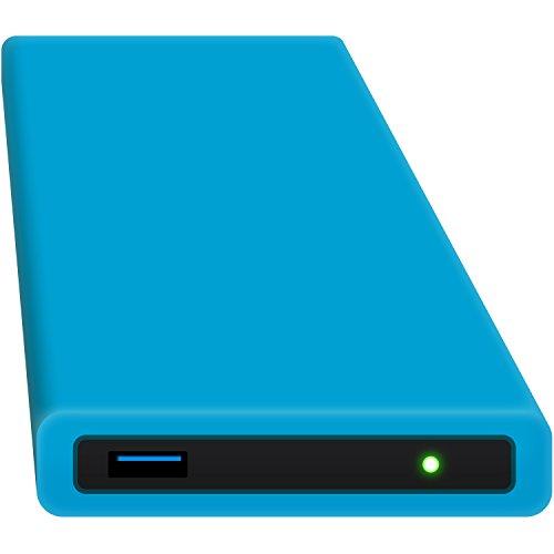 HipDisk BL externes Festplatten-Gehäuse 2,5 Zoll USB 3.0 aus Aluminium mit austauschbarer Silikon-Schutzhülle für SATA HDD und SSD stoßfest wasserabweisend blau