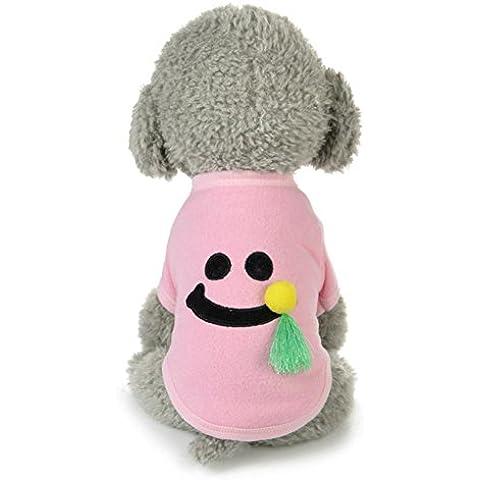 Ropa para perros,Vovotrade Traje de patrón de sonrisa de mascotas (S, Rosa)