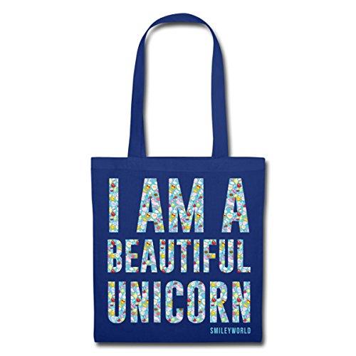 Spreadshirt Smiley World Ich Bin Ein Wunderschönes Einhorn Stoffbeutel Royalblau
