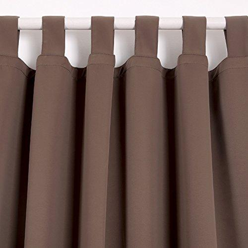 Deconovo Verdunkelungsvorhang Schlaufen Gardinen Schlafzimmer Vorhang Blickdicht Schlaufen 175×140 cm Braun - 3