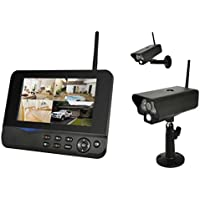 COMAG Digitales Kamera Funk-Überwachungs-Set (inkl. 7 Zoll TFT Monitor + 2 Stk. Kameras, kabellos, Nachtsicht (Infrarotkamera), erweiterbar bis zu 4 Kameras, bis zu 300 m, Aufnahmefunktion, SD-Kartenslot bis 32GB, USB 2.0 für externe Festplatte bis 1TB)